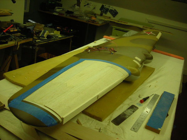 Warbird Rebuild—Skyshark ARF P-40N, model airplane news, model airplanes, model aviation, photo 7, port wing leading edge, tamiya spray can, red5designs stars