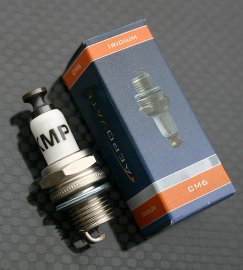 15cc Aerovate Gas Engine from KMP, 15cc Aerovate Gas Engine, KMP, iridium CM-6 spark plug
