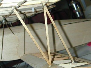 Mini Fokker D-VII, n-strut installation, model airplane news how to, model airplane news, photo 6, 2-56 screws, robart swivel clevises, plywood strut