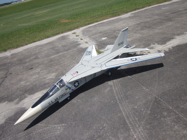 F-111 Aardvark, ray johns, mike selby, desert storm, usaf aircraft, Behotec JB180 turbine engine, 1/7 scale, model airplane news, model airplanes, model aviation, rc airplanes, photo 12, white, aerial view