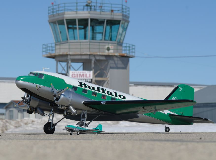 ice pilots scheme, royal DC-3, 14-inch-span Buffalo Airways diecast model, Jack Yablonski, Wilf Ansel, Robert Yablonski, full flaps landing lights scale Robart retracts two .63 YS engines fiberglass, model airplane news
