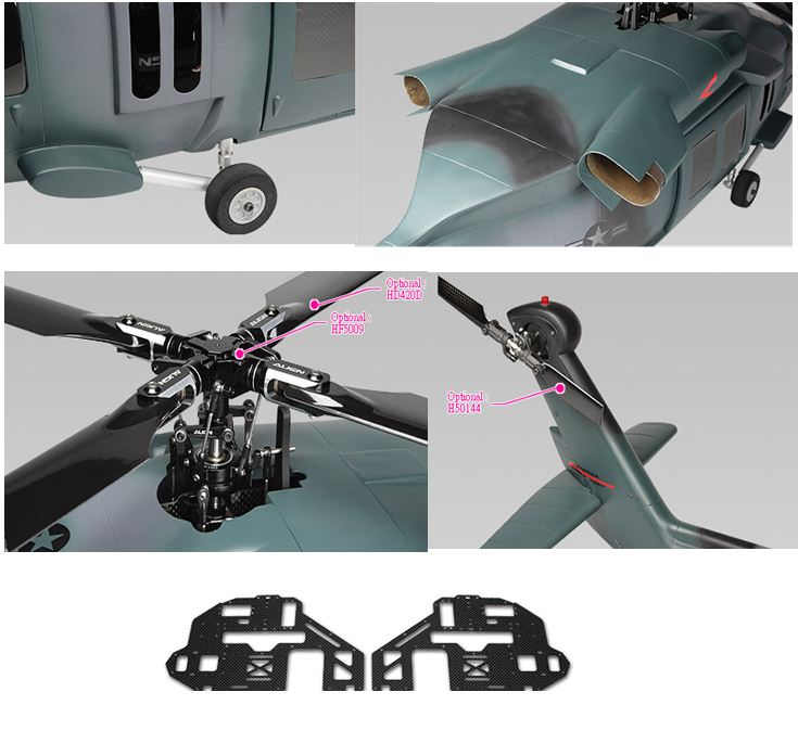 Align RC UH-60 Blackhawk Scale Fuselage, t-rex 500 helicopter, scale fuselage, scale turbine engine exhaust, align, rc uh-60 blackhawk, 4-blade rotor head, scale landing gear assembly, model airplane news, elevated tail rotor