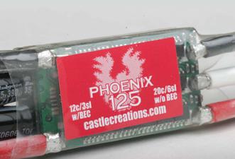 rc electric set-up, electrical power, e-power, BEC, castle creations, castle creations phoenix 125 ESC, model airplane news