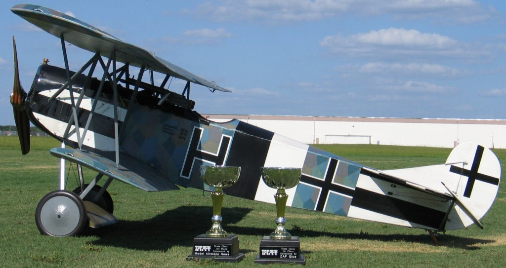 top gun, top gun 2011, top gun 2011 winners, top gun 2011 first place winners, top gun 2011 team scale winners, top gun 2011 first place team scale, Glenn Torrance, Tom Kosewski, Fokker D.VII, 1/3-scale WW1 German fighter, two Team Scale Trophies (One for the Builder and one for the Pilot), sponsored by Model Airplane News and Zap Adhesives, model airplane news, zap adhesives, The Fokker DA-85 gas engine, photo 2, blue, sky