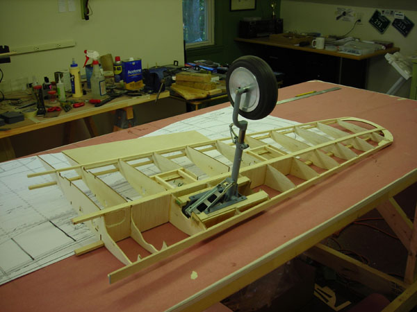 One wing panel with gear installed