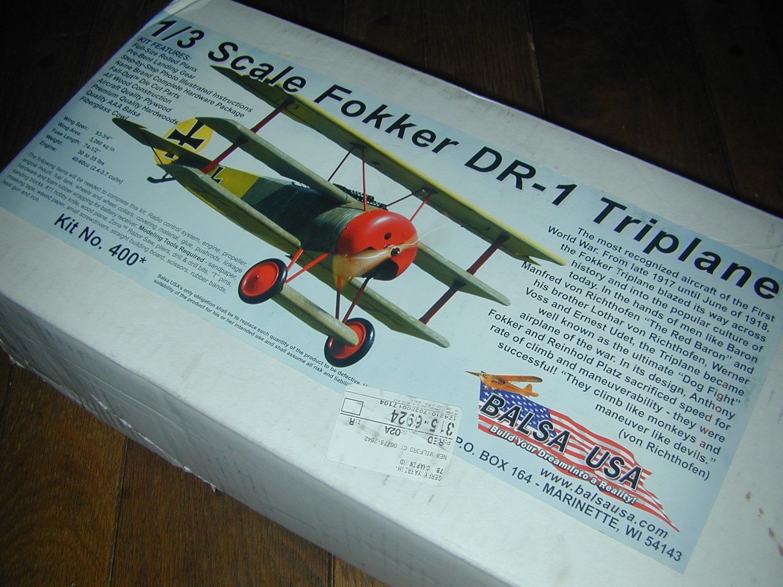 New Project — Balsa USA 1/3-scale Fokker Triplane