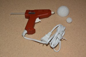 Heat up the glue gun and prepare the head and body...