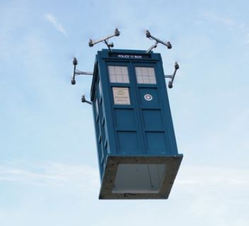 "Doctor Who's ""TARDIS"" takes flight"