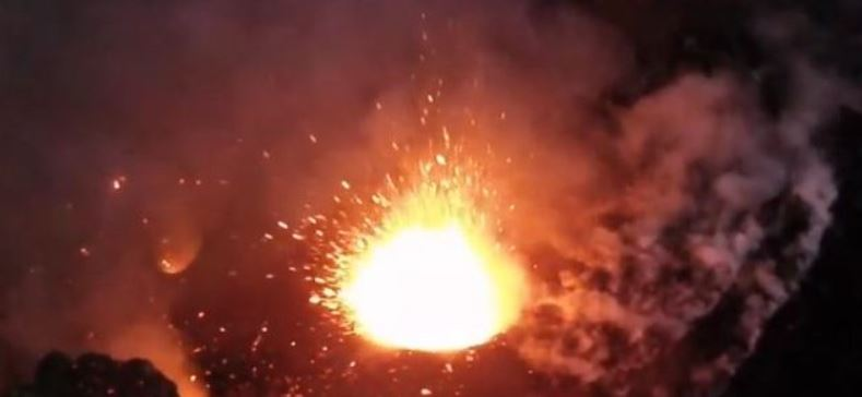 When the Volcano Blows! Footage from a multirotor