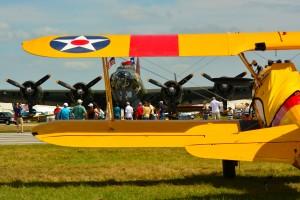 B-17 & biplane