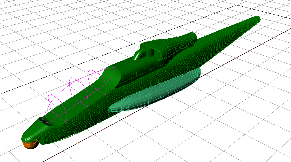 "The 65"" long fuselage was drawn in Rhino 3D to verify fit for the internal mechanics."