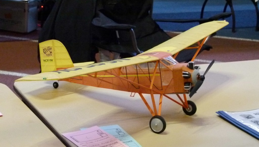 Tim Lavender traveled from Nashville, TN to win the eFest Scale competition with this nifty stick and tissue Curtiss Robin.  Tim is a fixture in Flying Aces (FAC) free flight and brings a bunch of R/C conversions to indoor events like eFest.