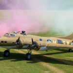 B-17 foamy waits for the smoke to clear after a slow and graceful flight.