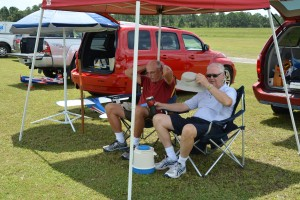 John Van Workum, the IRKS club treasurer, takes a break with Lee Royer.