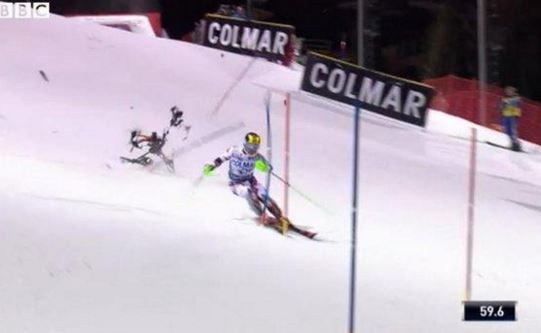 Drone Nearly Hits World Cup Skier