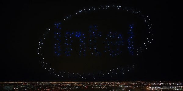 Intel Shooting Star drones light up the sky in the Pepsi logo following the Pepsi Zero Sugar Super Bowl LI Halftime Show. (Credit: Intel Corporation)