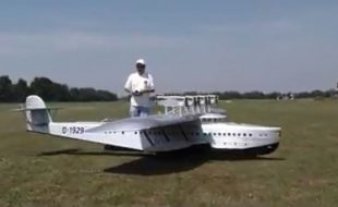 Flying Boat with 12 Four-Stroke Engines