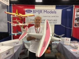 Dave Platt holds the electric kit version of his popular free-flight design, Satin Doll.