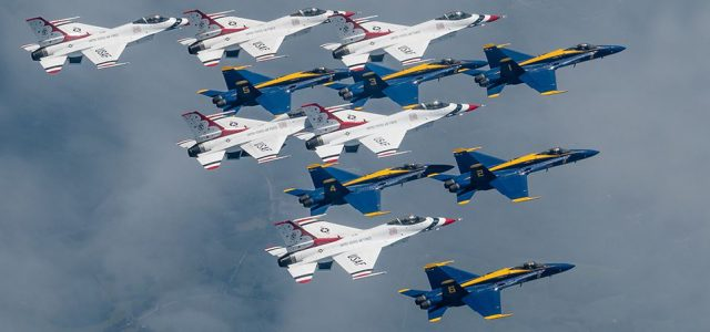 Blue Angels and Thunderbirds Fly Together